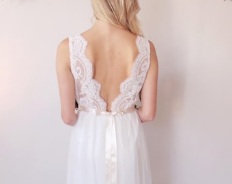 PENELOPE - Bridal Gown - Corded lace v back bridal gown with tulle skirt - simple bridal gown