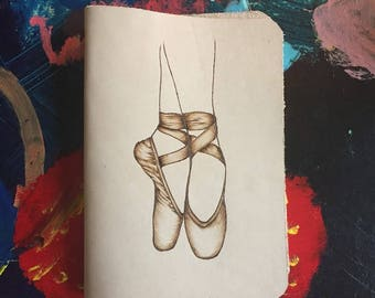Refillable Leather Journal with Burned Ballet Point Shoe Design