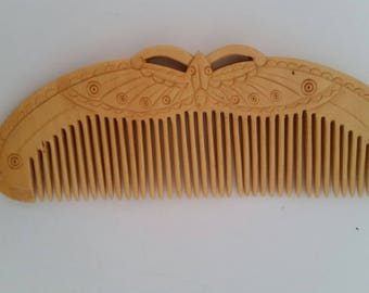 Vintage Asian Comb, Carved Wood. Butterfly or Moth  Design.