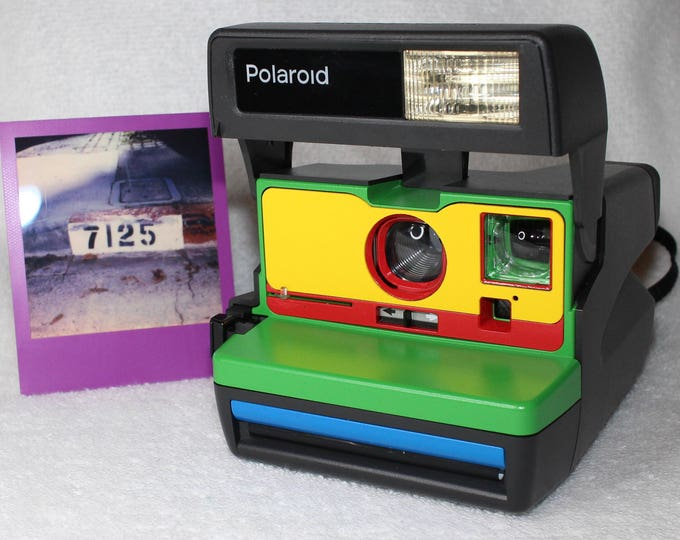 Cleaned & Tested Polaroid 600 OneStep - Upcycled Green, Yellow, Red, and Blue With Close Up And Flash Built-In