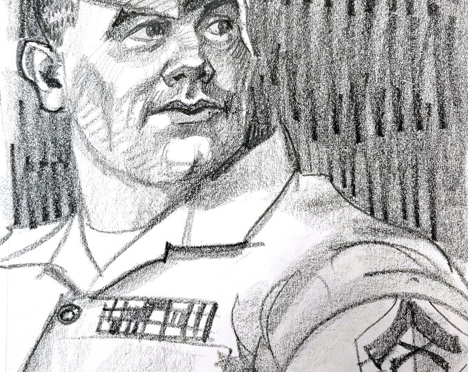 Beefy Man in Uniform, 9x12 inches crayon on paper by Kenney Mencher