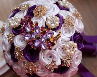 Purple brooch bouquet, fabric bouquet, gold, wedding bridal bouquet, bride bouquet