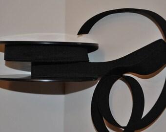 elastic ribbed flat 30mm / 3cm black roll of 25 metres