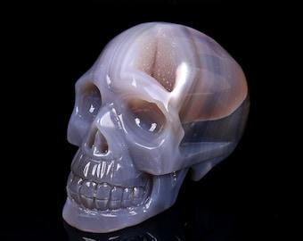 Natural Blue Grey Agate Geode Quartz Crystal Cluster Carved Skull ,Healing Skull S025