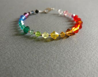 Rainbow. Swarovski crystal delicate bracelet. Free shipping.