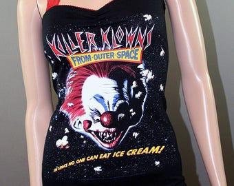 Killer Klowns From Outer Space Halter Tank Top Shirt Dress Horror Movie Clowns Halloween Goth
