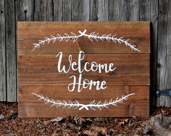 welcome home sign, wooden sign, reclaimed wood art, pallet art, wood art, home sign
