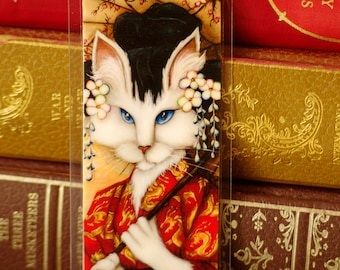 Cat Wearing Japanese Kimono Art Bookmark