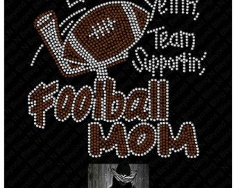 Football Mom Rhinestone Bling Shirt