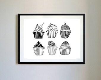 Cupcake Hand drawn Print.