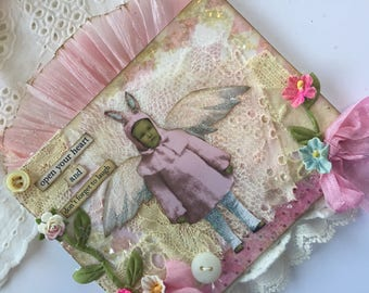 Childrens Assemblage Wall Hanging, Original Collage Mixed Media,  Shabby Wall Hanging, Fabric Collage, Lace Collage Art, Assemblage Art