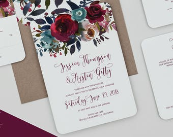 Boho Deep Red and Navy Floral Wedding Invitations,Merlot and Navy Wedding Invites,Boho Rustic Rose Wedding Invitation,Rustic Fall Wedding