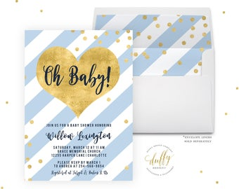 Blue and Gold Baby Shower Invitation, Baby Boy Shower Invitation, Baby Shower Invitation Gold, Blue Baby Shower Invite, Printable 5x7