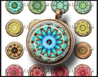 Ancien Chakras 1 x 1 cercle, Image numérique imprimable, Collage numérique, Mandala, aimants, étiquettes cadeaux, tuiles de Scrabble, Yoga, méditation
