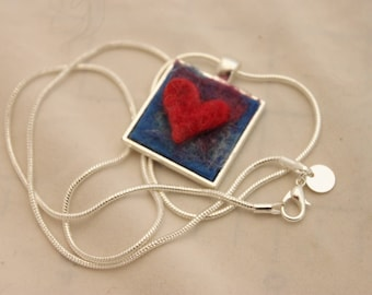 Felted Heart Necklace, Heartscapes Pendant Necklace, Needle Felted Heart Necklace, Silver Heart Necklace #3343