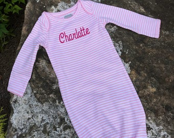 Baby Gown Sleeper - Personalized Baby Gown Sleeper - mud pie - Monogrammed Sleeper - Baby Girl Pink stripped