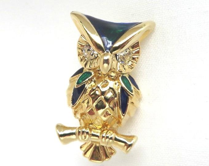Vintage Owl Brooch - Enameled, Rhinestone Studded Owl Pin