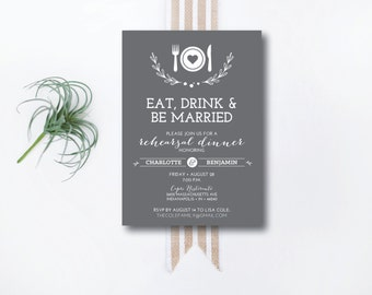 INSTANT DOWNLOAD rehearsal dinner invitation / downloadable invitation / editable invitation / wedding rehearsal dinner / 5x7 invitation