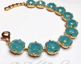 Mint Green Cushion Cut Gold Tone Bracelet - Swarovski Turquoise Pacific Opal Stones