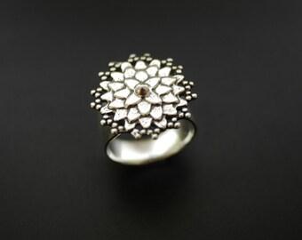Asian Mum Ring Sterling Silver Flower Ring