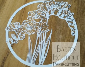 Freesia Papercutting Template | by Babees Boutique Papercutting | floral template | Personal & Commercial use