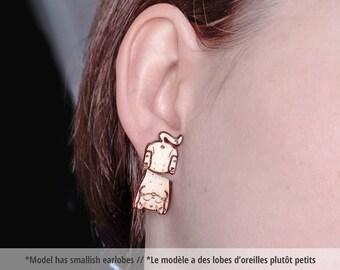 Wood cat ear jacket earrings. Funny cat earrings, double sided kitty earrings, wood kitten ear jackets, funny studs, animal butt jewelry
