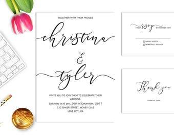 Minimalist Wedding Invitation Simple Elegant printable Wedding Invitations set Wedding Invitation Suite Simple invites Modern wedding invite