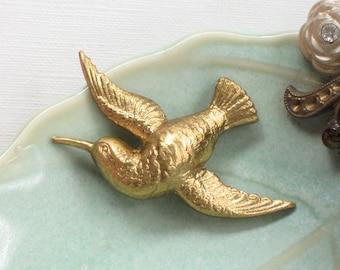 2 brass HUMMINGBIRD jewelry embellishment 38mm x 29mm (FF13)