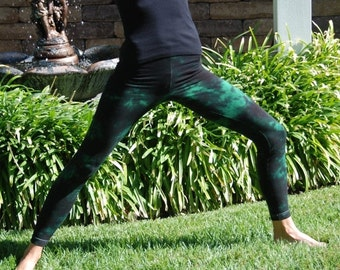 Tall Twilight Green Tie Dye Yoga Leggings including Extra Long and Plus Size by Splash Dye Activewear