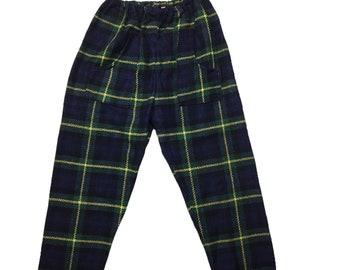 Vintage 1960s 60s mod tartan unisex trousers age 7 deadstock unused