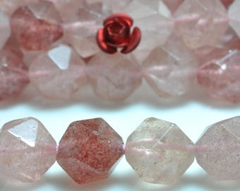 37 pcs of Natural Straberry crystal faceted  nugget star cut beads in 10mm (07161#)