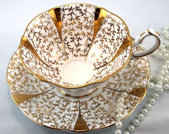 Queen Anne, Footed Teacup & Saucer, Gold Lace Pattern, Bone English China made in 1960s