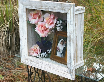 Wedding Shadow Box Rustic Frame Wedding Keepsake Box Glass Door Rustic Beach Cottage Chic Home Decor