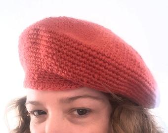 HAND CROCHET BERET Vintage 60's Wool Knit Hat
