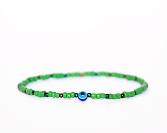 Nazar Bracelet, Evil Eye Bracelet, Protection Bracelet, Friendship Bracelet, Colorful Bracelet, Boho Bracelet, Green Bracelet, Seed Beads