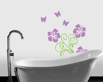 "Hibiscus Butterflies Floral Design Scroll Vinyl Wall Sticker Decals 36""h x 22""w"