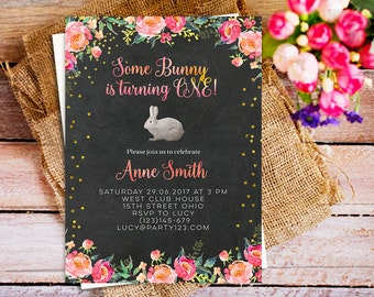 some bunny is turning one, 1st Birthday Invitations, Bunny Birthday Invitation, Bunny Printable Invitation, Bunny One First Birthday Invite