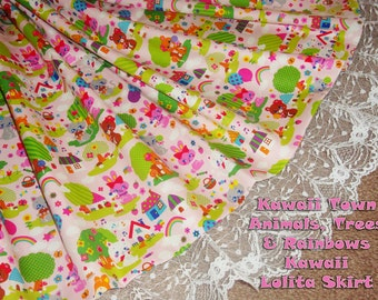 Kawaii Town Animals, Trees & Rainbows Kawaii Lolita Skirt - ANY SIZE