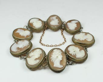 Victorian Style Silver Conch Shell Cameo Bracelet