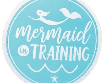 Monogrammed Mermaid in Training Round Towel