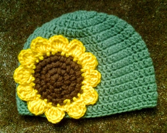 Crochet Sunflower Hat for Children and Adults