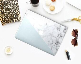 White & Silver Marble Tangram MacBook Case, MacBook Hard Case, MacBook Air Protection, MacBook Pro 2016 Touch Bar Case, MacBook Pro Retina