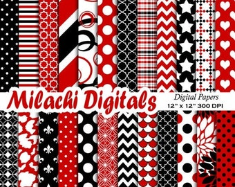 60% OFF SALE red and black digital papers, scrapbook papers, background, wallpaper, commercial use - M539