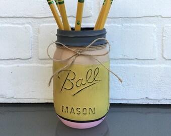 Pencil Mason Jar -Back to School, Teacher Appreciation, Office Storage