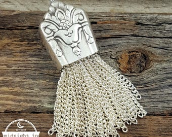 Her Majesty Knife Bell Necklace - Chain Tassel Necklace Pendant- Tassel Pendant- Silver Tassel Necklace- Silverware Necklace- Knife Necklace
