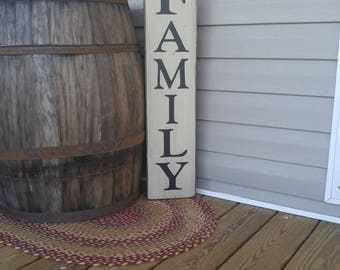 Family Sign, Vertical Sign, Wood Sign, Family Room Sign, Porch Sign, Porch Decor, Farmhouse Style, Country Rustic, Distressed Sign
