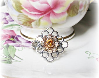 Swarovski Crystal Cocktail Ring Topaz Brown Peach Crystals Ombre Filigree Jewellery Jewelry dspdavey Melbourne Two Cheeky Monkeys Sparkly