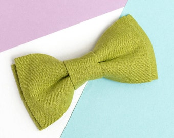 Lime Green Linen Bow tie for men Wedding bow tie Boys bow tie Summer wedding outfit Page boy Ring bearer outfit Bow tie for boy Bowties