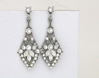 Bridal earrings Chandelier, Bridal jewelry, Crystal earrings, Swarovski earrings, Antique silver earrings, Vintage style earrings, Art Deco