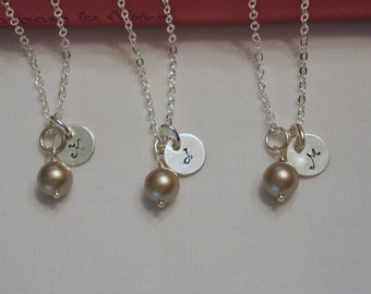 6 Platinum Pearl Bridesmaid Jewelry Personalized, 925 Sterling Silver Chain, Bridesmaid Gift -  Initial Necklaces